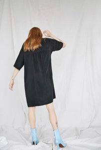 Lullaby Button Dress in Black Cupro