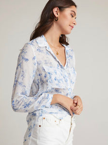 Full Button Down Hipster in Indigo Floral