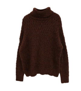 Long Brown High Neck Knit Sweater