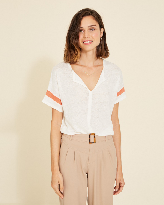 Stevia Linen Tee with Orange Stripe