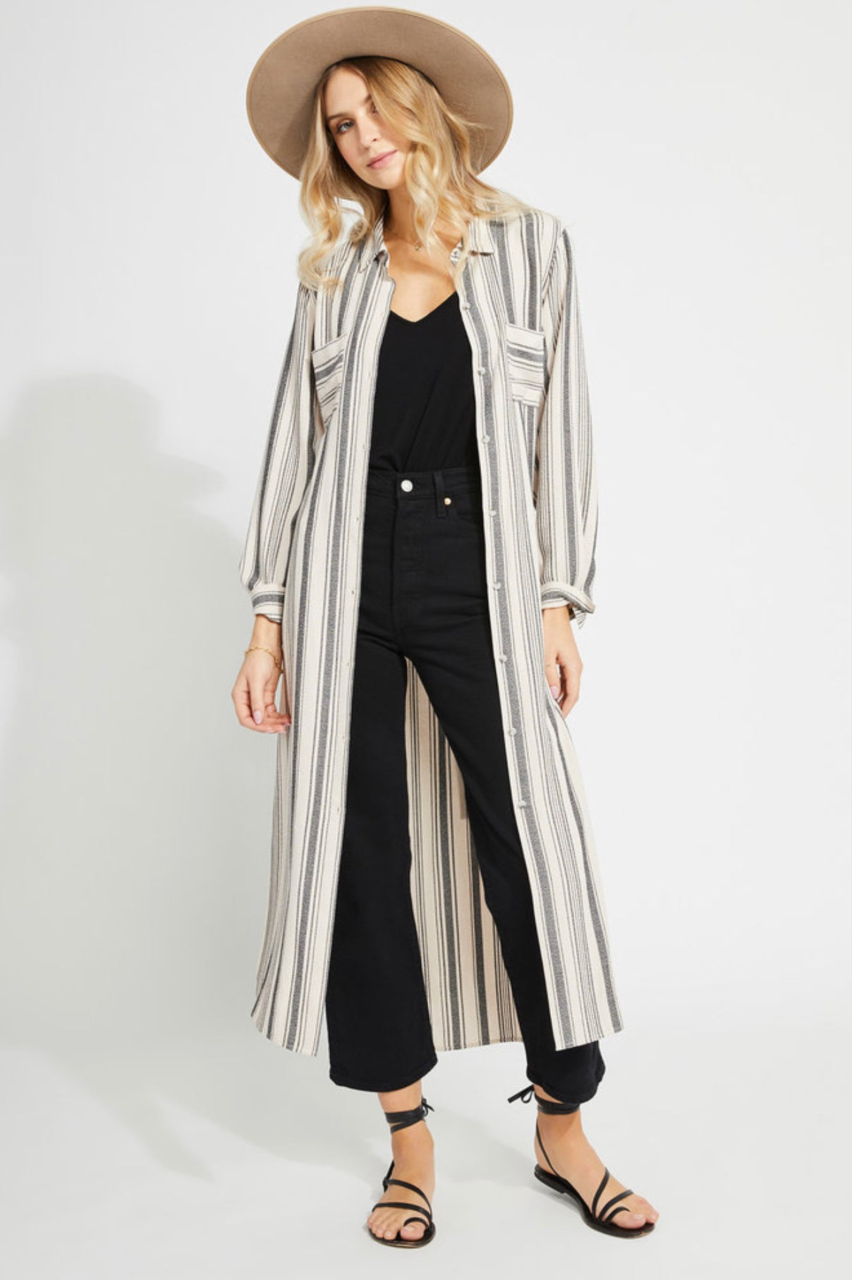 Majestic Duster in Taupe Stripe