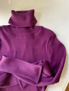 Ribbed Silk and Cotton Turtleneck in Eggplant