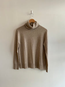 Cashmere Blend Turtleneck Sweater in Taupe