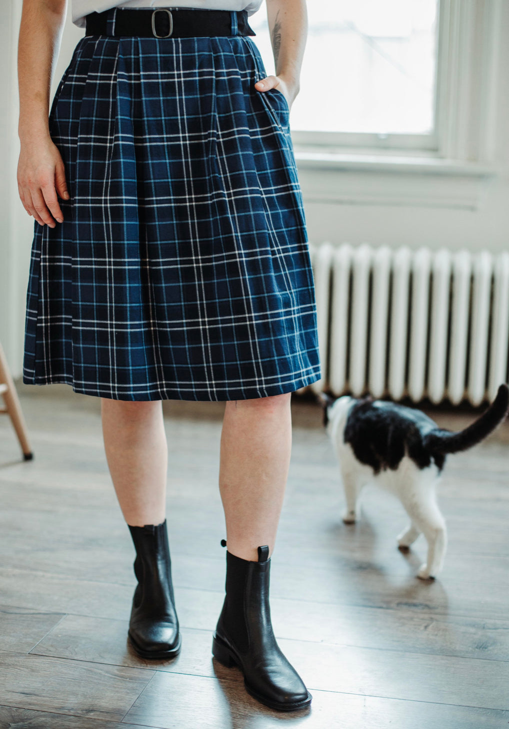 Birds of North America 'Rail' Skirt in Blue Plaid