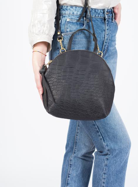 Anni Mini Shoulder Bag in Black Croc