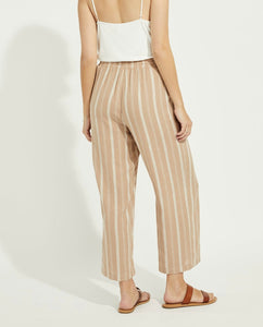 Tate Drawstring Pants in Latte Linen Stripe