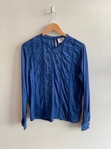 Cotton Embroidered Blouse in Indigo