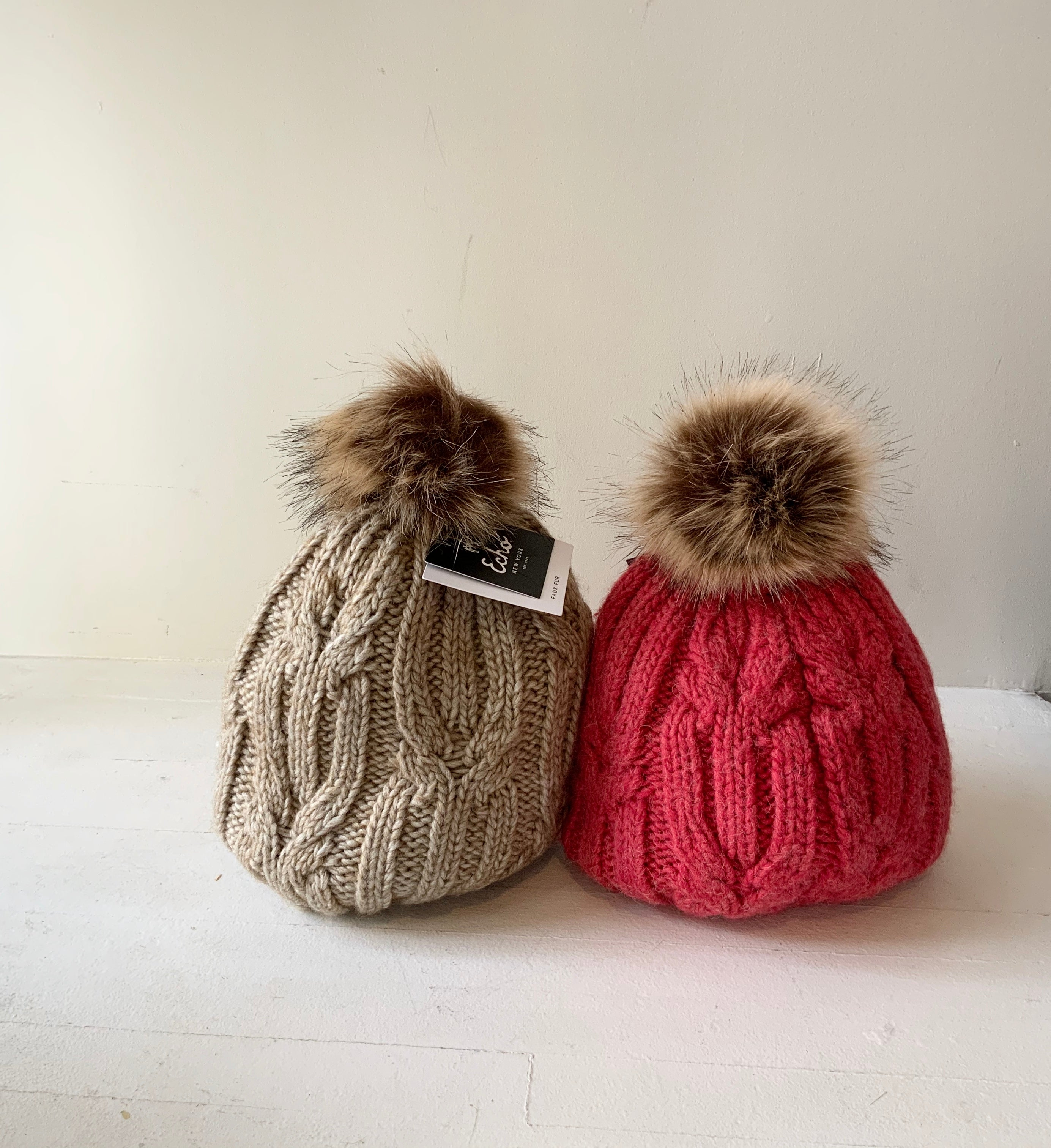 Twisted Cable Knit Pom Hat (2 Colours)