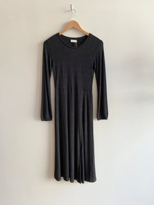 Long Knit Dress with Slit in Charcoal