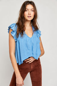 Hailey Embroidered Top in Bottled Blue