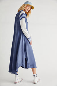 Pintucked Midi Dress in Quarry Blue