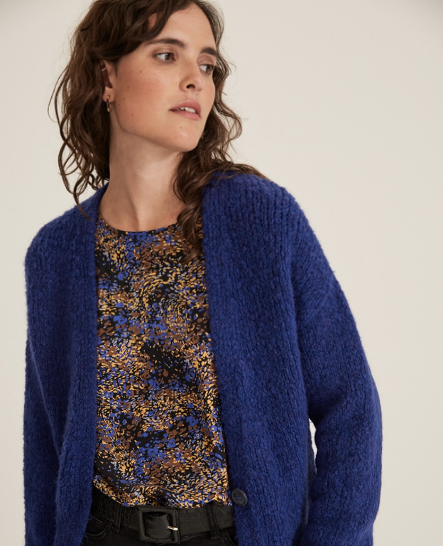 Button Knit Cardigan in Blue