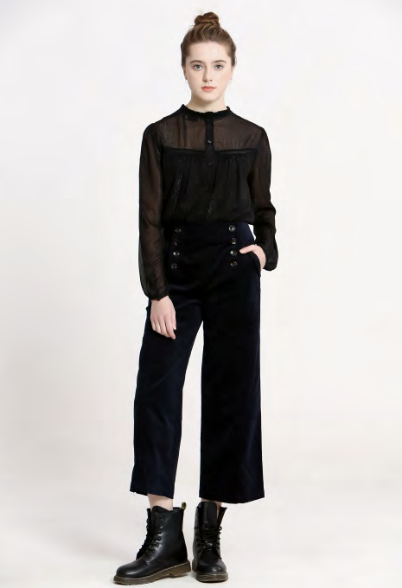 Wide Leg Crop Corduroy Pant in Navy