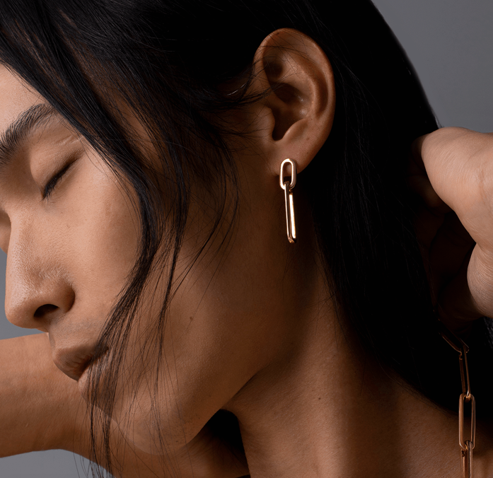 Stevie Link Drop Earrings in Gold