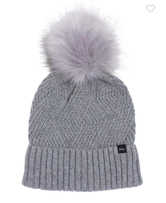Recycled Cable Knit beanie with Pom (3 colours)