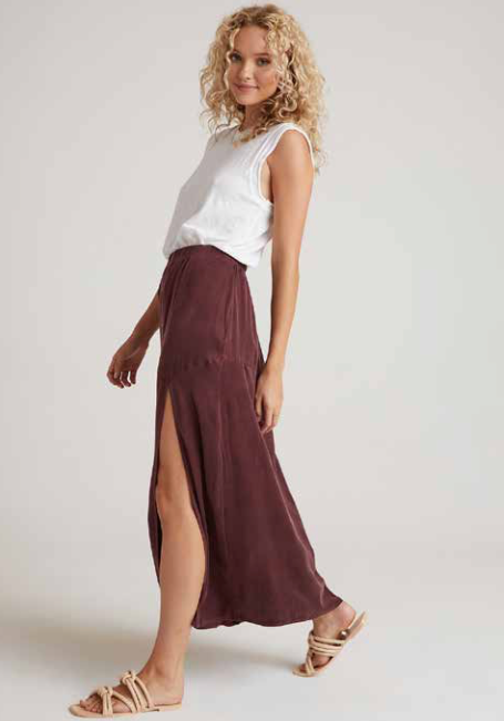 Side Slit Maxi Skirt in Dark Chocolate