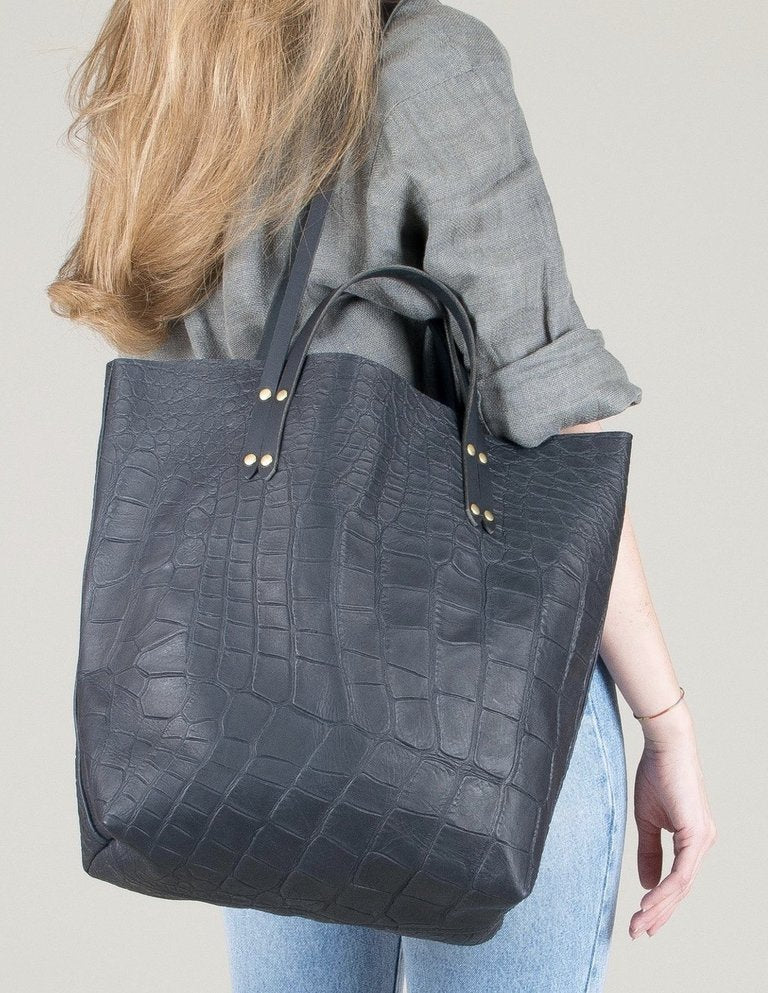 Eleven Thirty Romy Tote in Black Croc