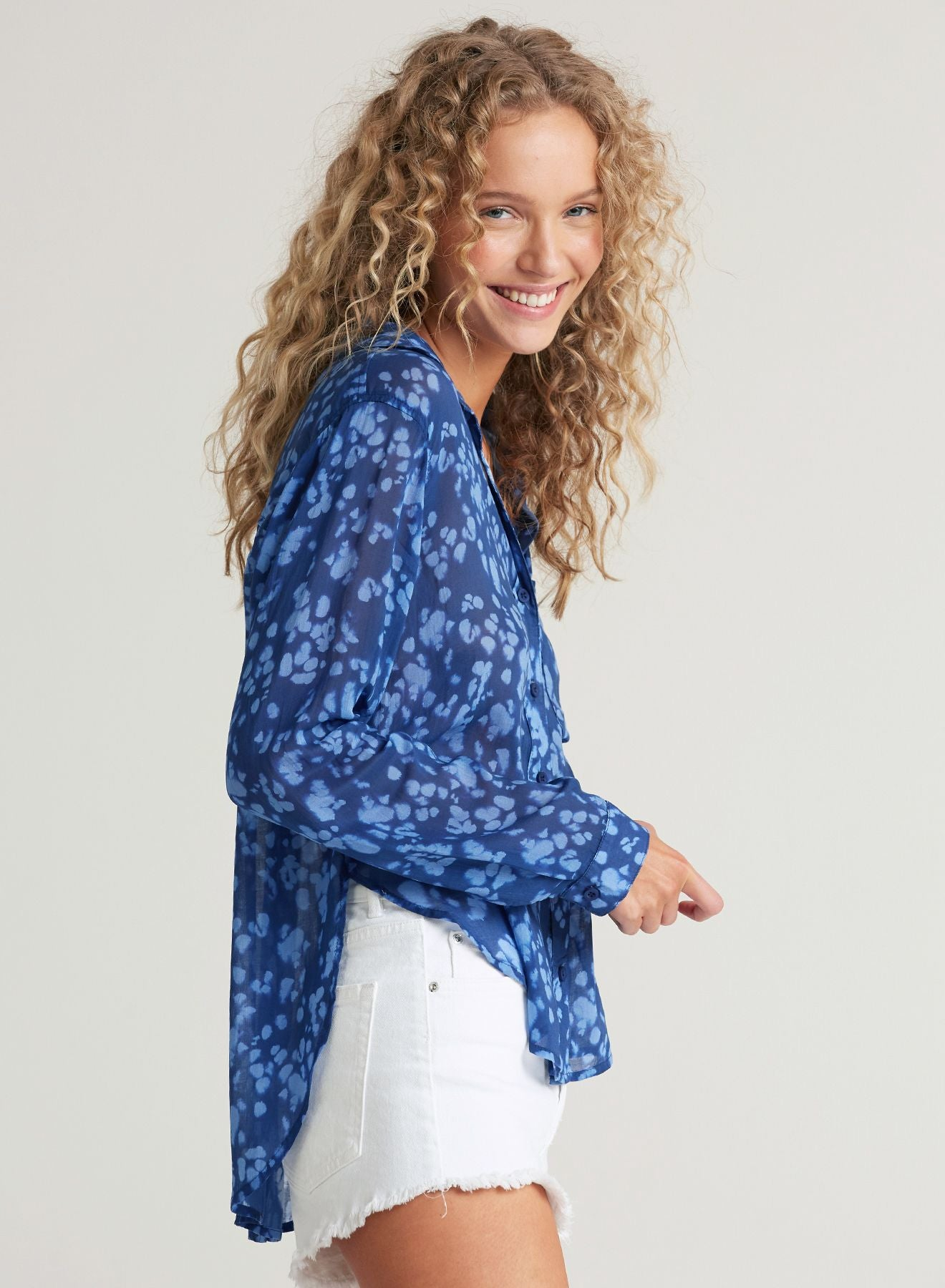 Smocked Flowy Blouse in Indigo