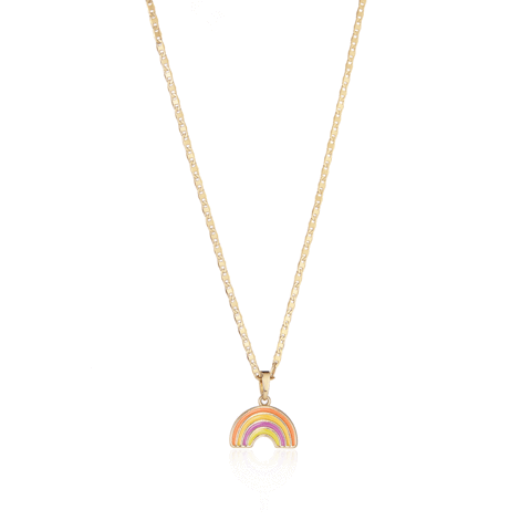 Elli Necklace with Rainbow Charm in Gold