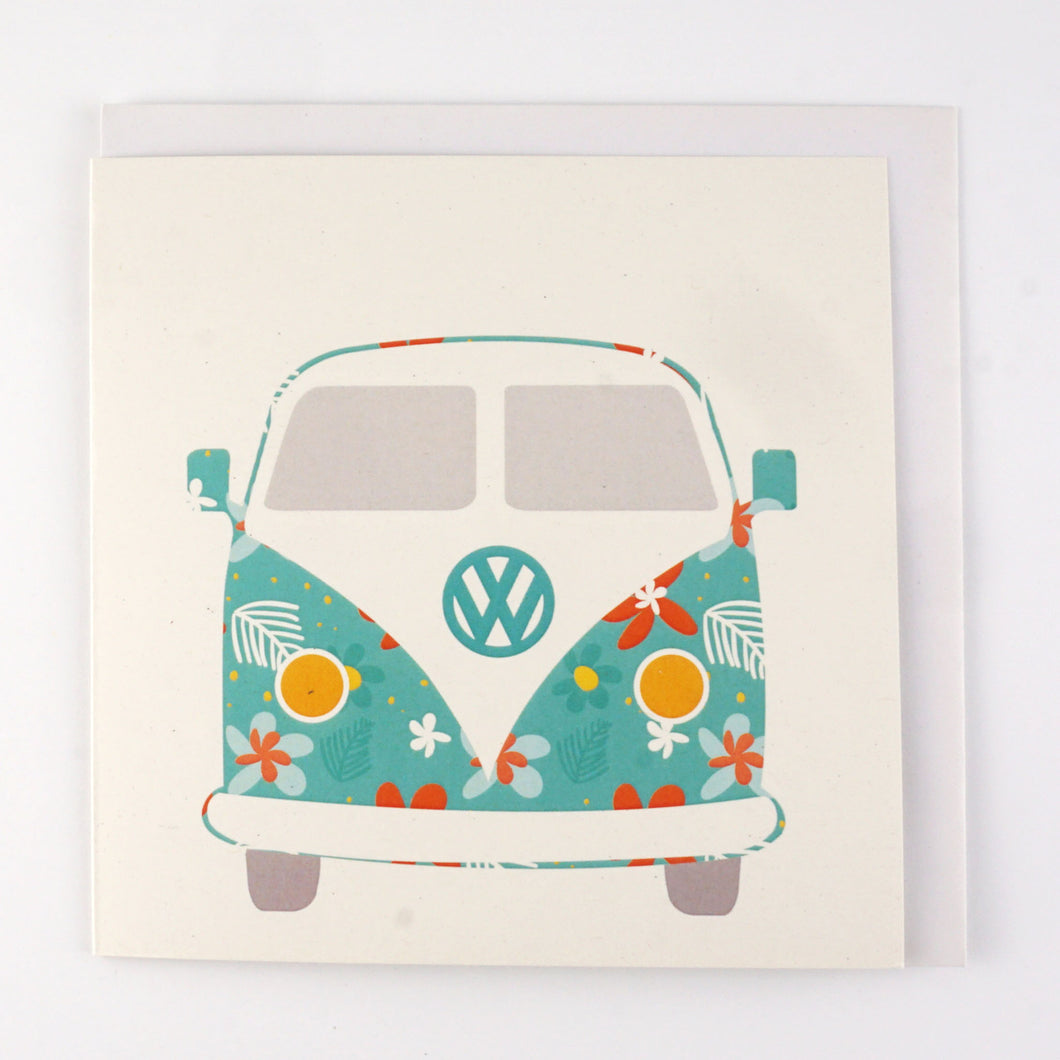 Combi Van Flower Power Greeting Card