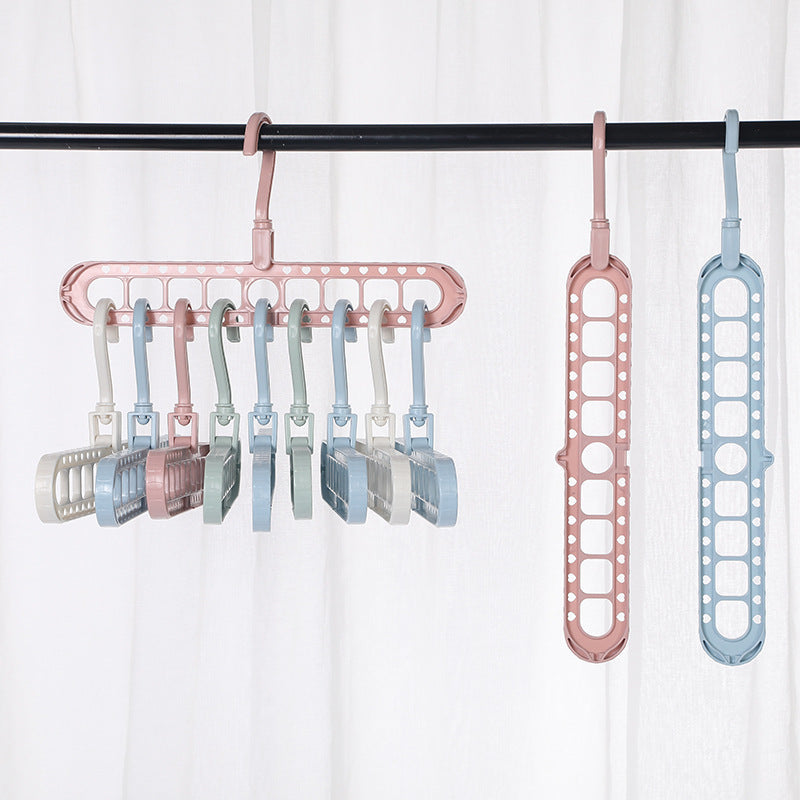 8 Pcs Multifunctional Folding 9-hole Storage Hanger (Color Sent Randomly)