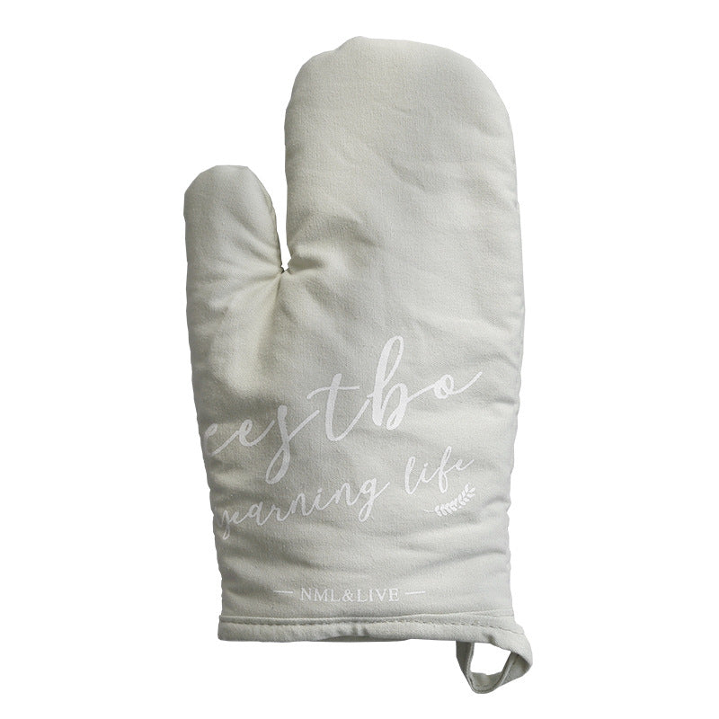 English Letters Thickened Heat Insulation Anti-scalding Microwave Oven Baking Gloves