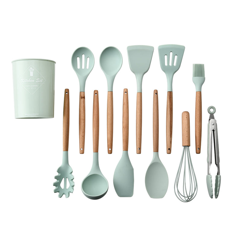 11 Pcs Silicone Cooking Kitchen Utensils Set with Holder, Wooden Handles Cooking Tool