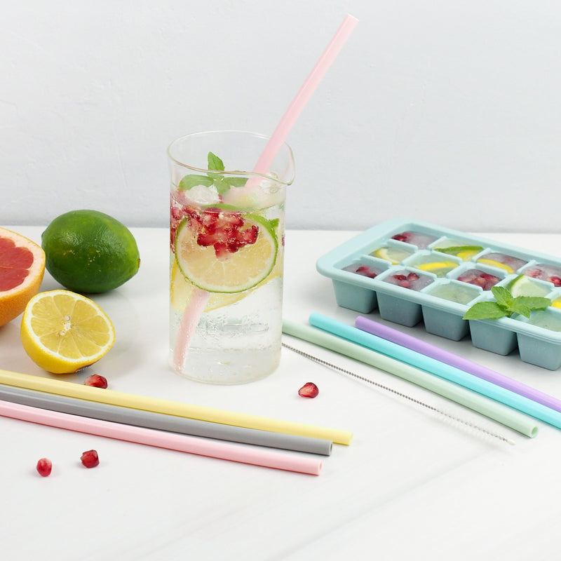 Reusable Silicone Straw Set of 6 Pieces