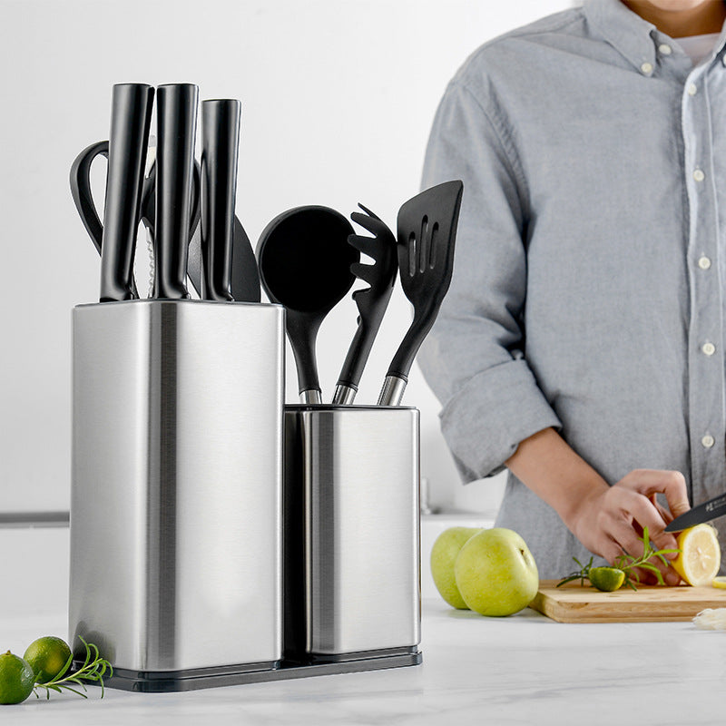 Block Set Stainless Steel Knife Holder Free Insert Knife Holder Kitchen Utensils Knife Holder Storage Bucket