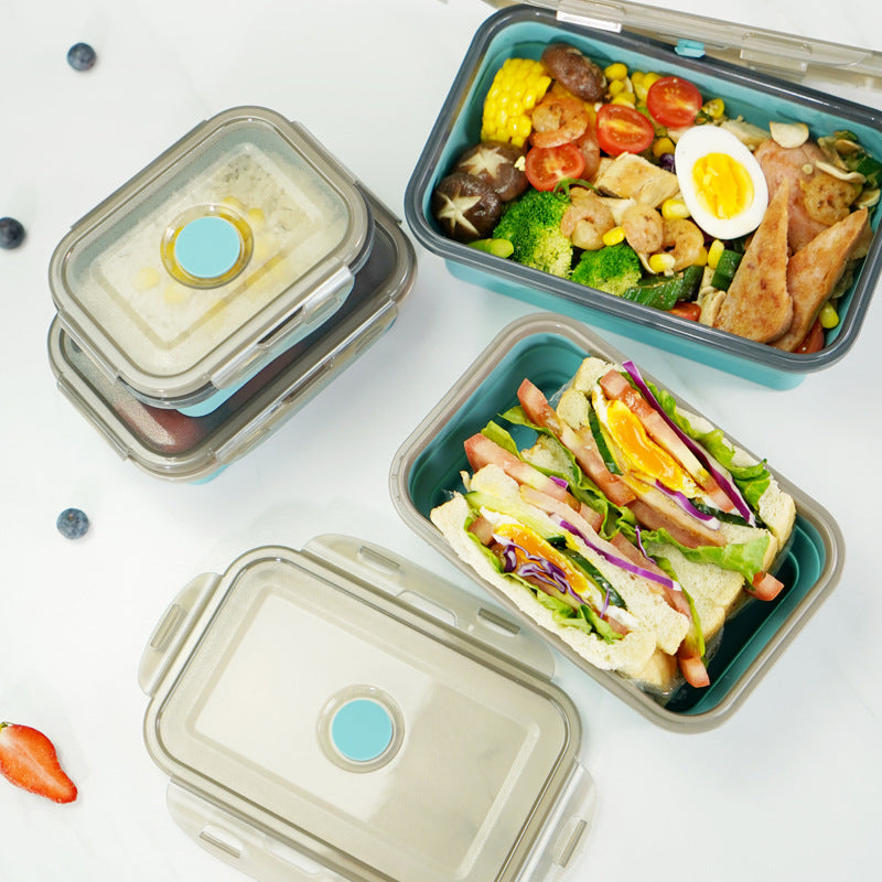 Portable Foldable Silicone Lunch Box 4 Pcs
