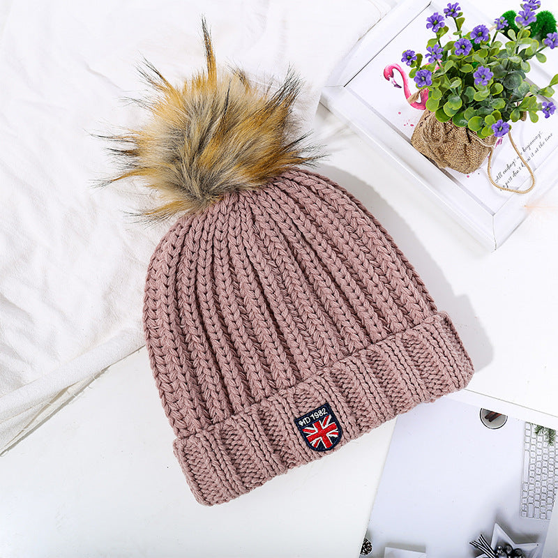 Embroidered Knitted Woolen Ball Cap Women's Fashion Cuffed Cap