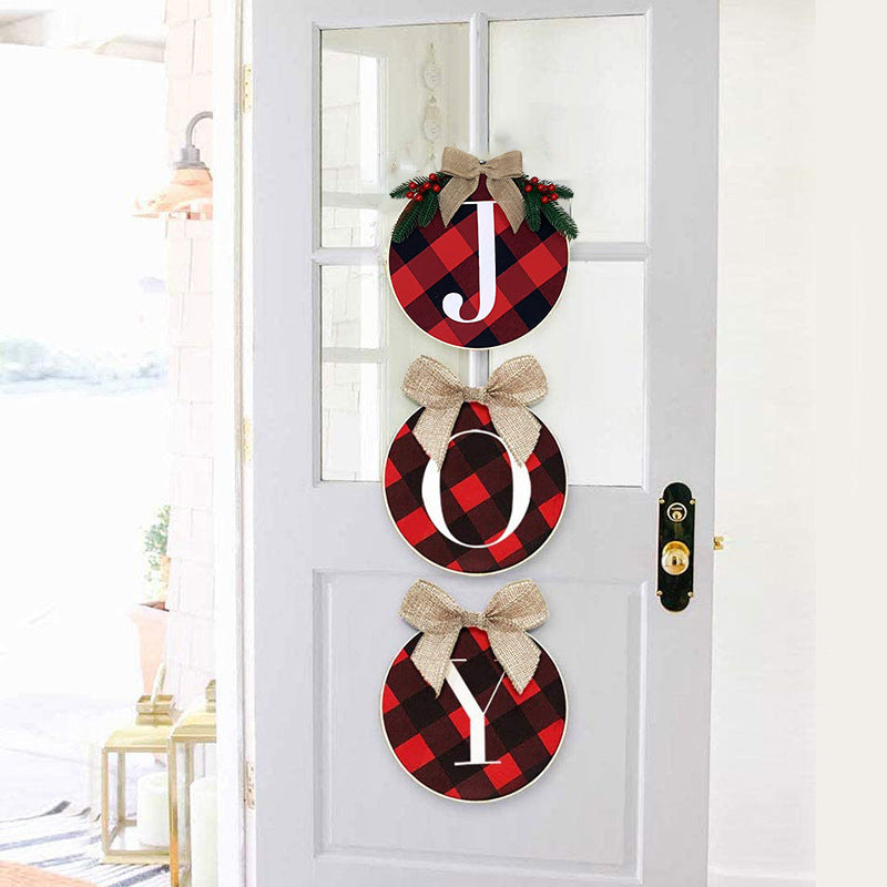 Christmas Decorations, Home Door and Window Staircase Scene Layout DIY Red and Black Grid Christmas Wreath Wreath