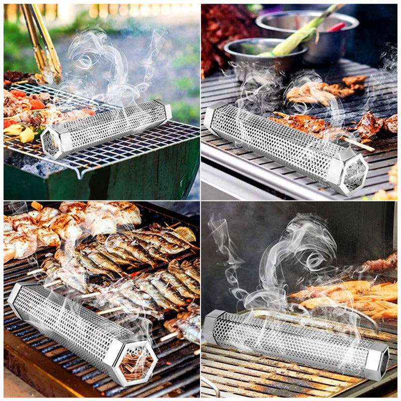 Smoker Tube 12 inches Stainless Steel BBQ Wood Pellet Tube Smoker for Cold/Hot Smoking
