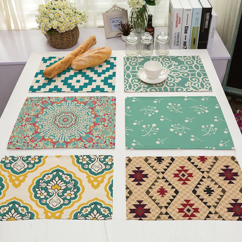 Printed cotton and linen western placemat