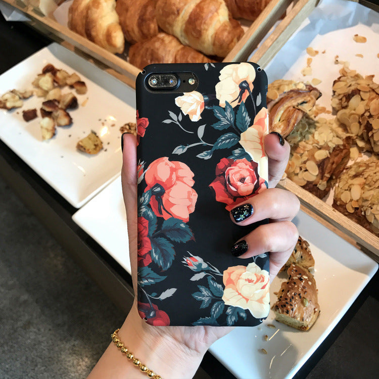 Suitable for iPhone11/12max/xr Mobile Phone Case iPhone6s/7/8plus Retro Rose Matte