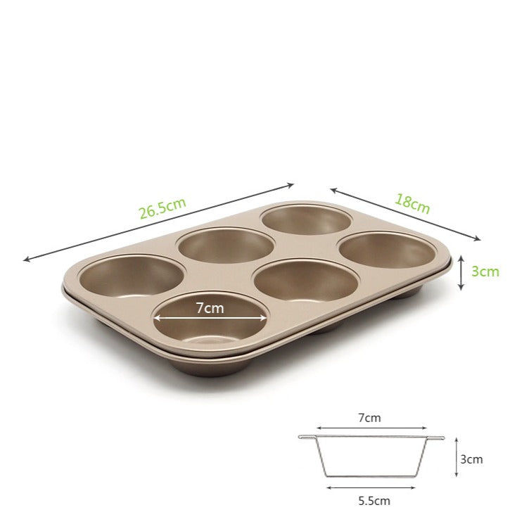Muffin Cake Pan, 6-Cavity Non-Stick Cupcake Pan Bakeware for Oven Baking