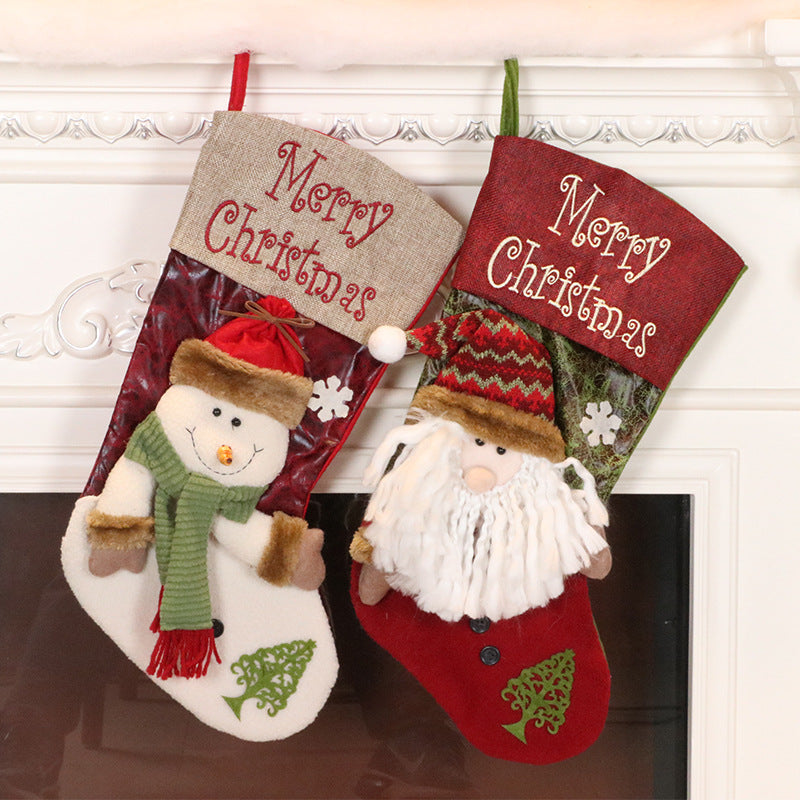Christmas Stockings Gift Bag Large Candy Socks Pendant Santa Claus Decoration