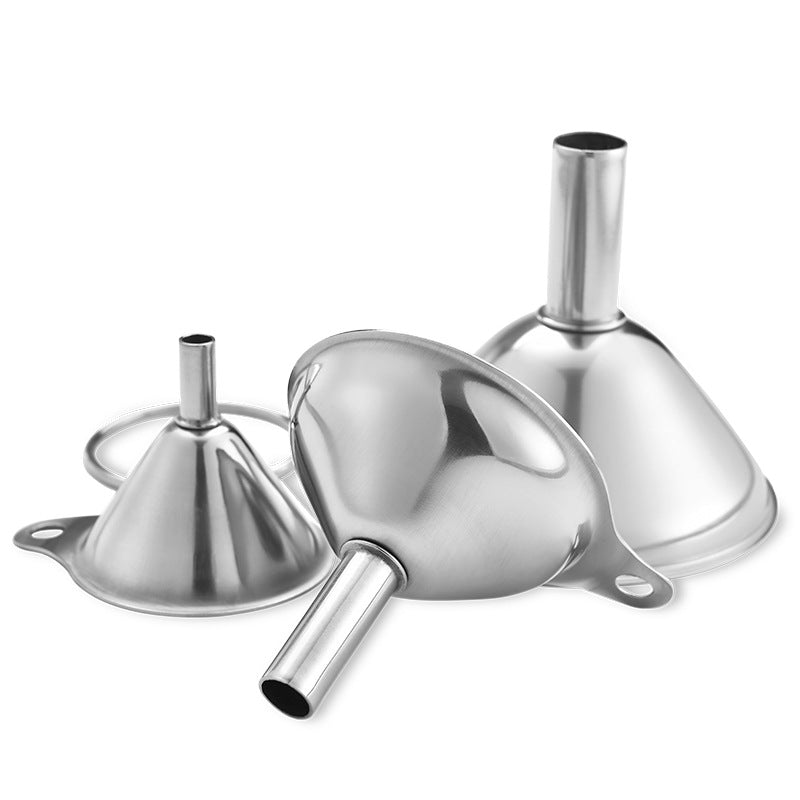 Stainless steel funnel three-piece mini funnel oil leaking wine leaking integrated liquid dispenser