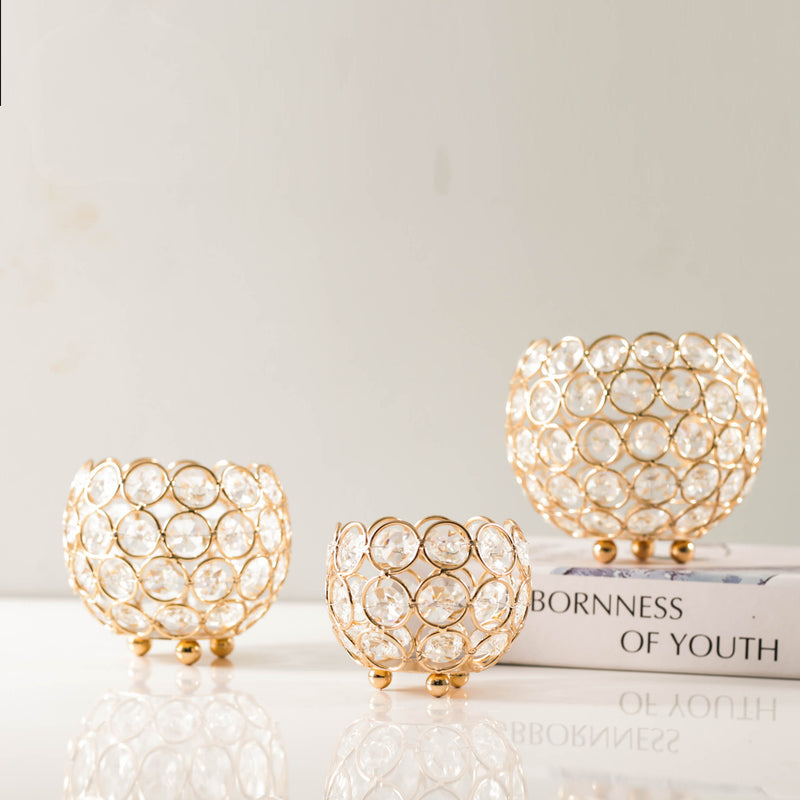Crystal Ball Romantic Creative Desktop Electroplating Ornaments Retro Hollow Candle Holder Iron Candle Cup