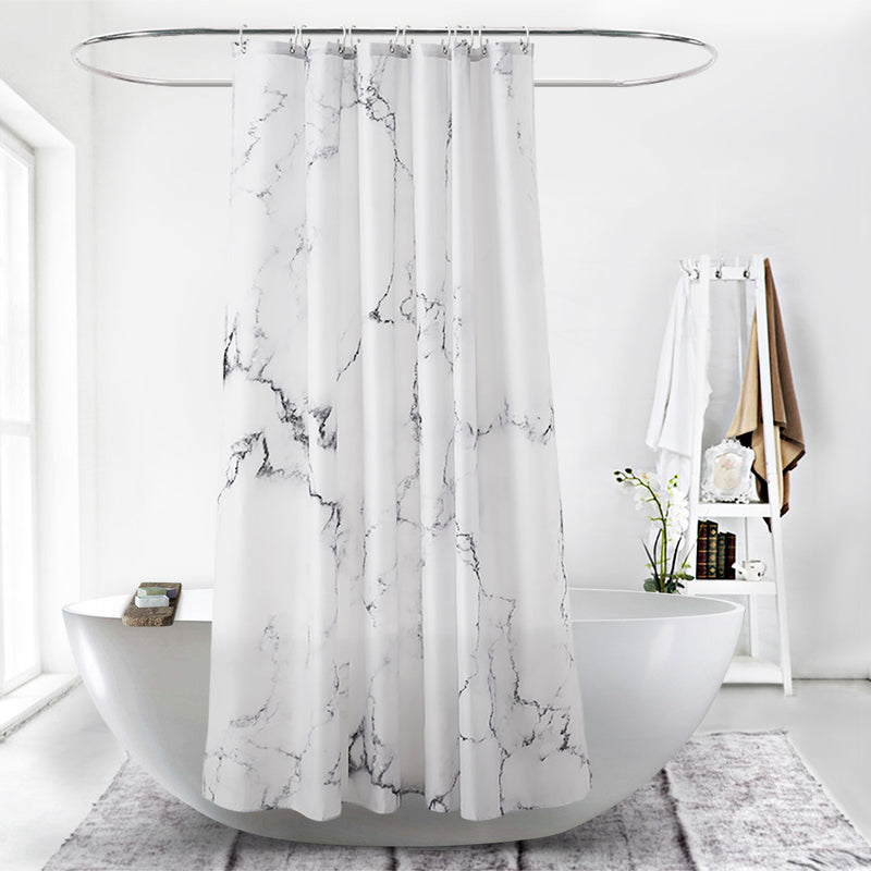 Shower Curtain Polyester Fabric Machine Washable with 12 Hooks 70.86x70.86 Inch