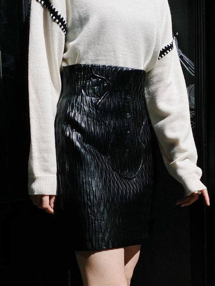 ASSYMETHRIC PLEATED SKIRT WITH SLITS S - #hapi Fish-SKIRT