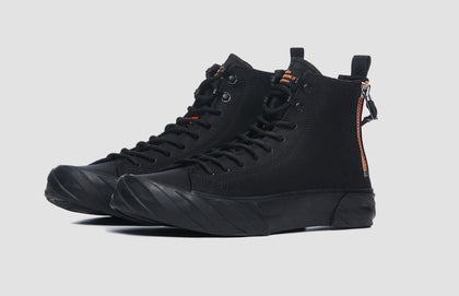 CARBON COATED CANVAS HIGH TOP BLACK US 8 - #hapi Fish-SHOES