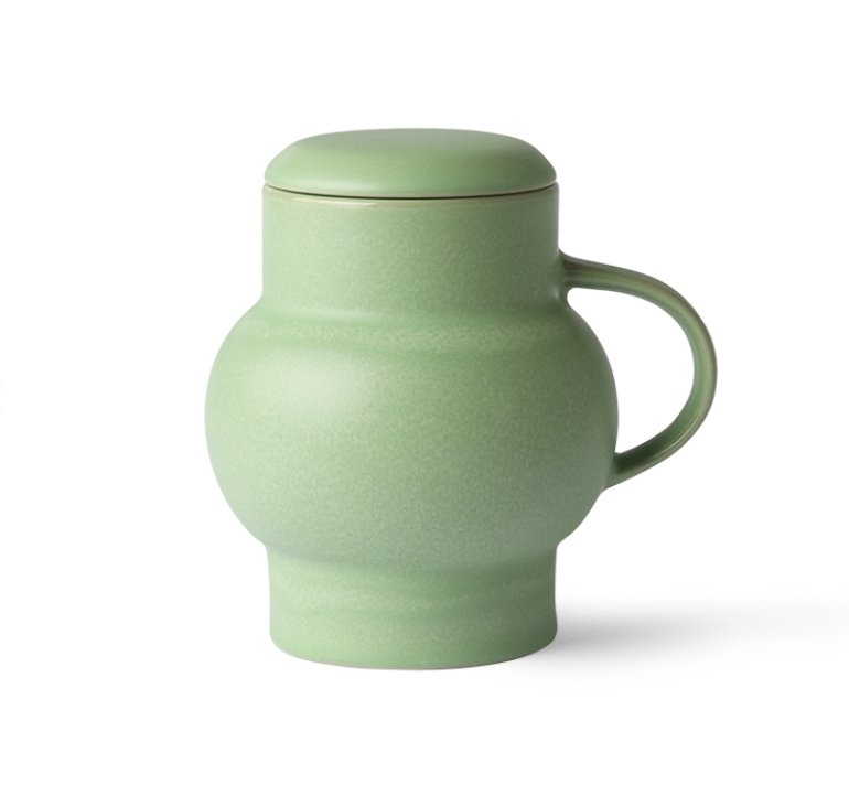 ceramic bubble tea mug L green