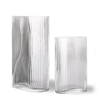 clear ribbed vases set of 2 - #hapi Fish-VASE