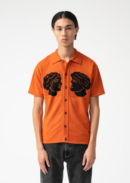 CUM AND CUMMER KNITTED SHIRT/ ORANGE - #hapi Fish-SHIRT