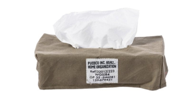 LAMINATED FABRIC TISSUE BOX COVER Olive
