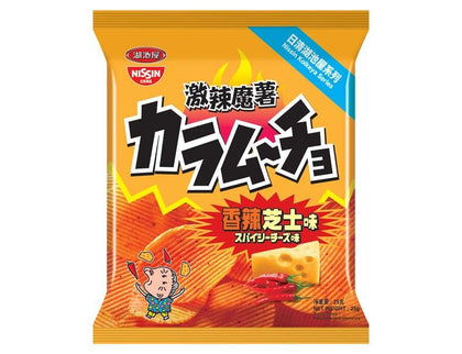 Nissin Koikeya Foods Karamucho Hot Chilli Cheese Flavour Potato Chips 55g - #hapi Fish-CHOCOLATE & SNACKS
