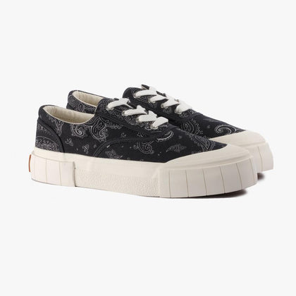 PAISLEY PATTERN LOW TOP SNEAKERS/ BLACK - #hapi Fish-SNEAKERS