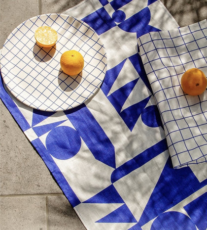 Poketo Linen Tea Towel Set in Blue - #hapi Fish-TEA TOWEL
