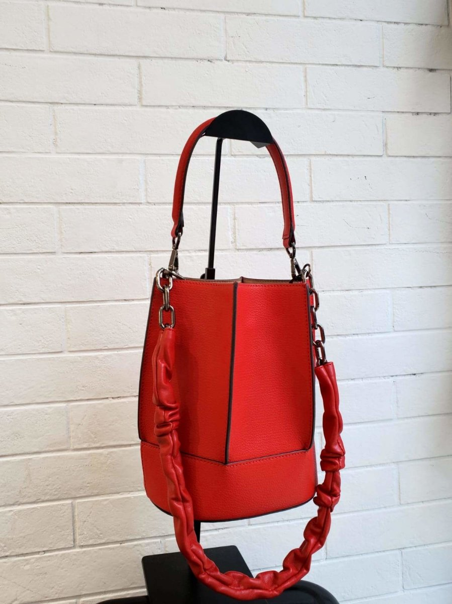 RED CALF LEATHER BUCKET BAG